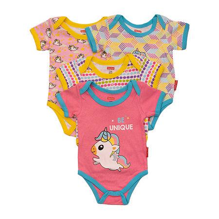 Fisher-Price Baby Girls 4-pc. Bodysuit, Newborn-3 Months , Pink