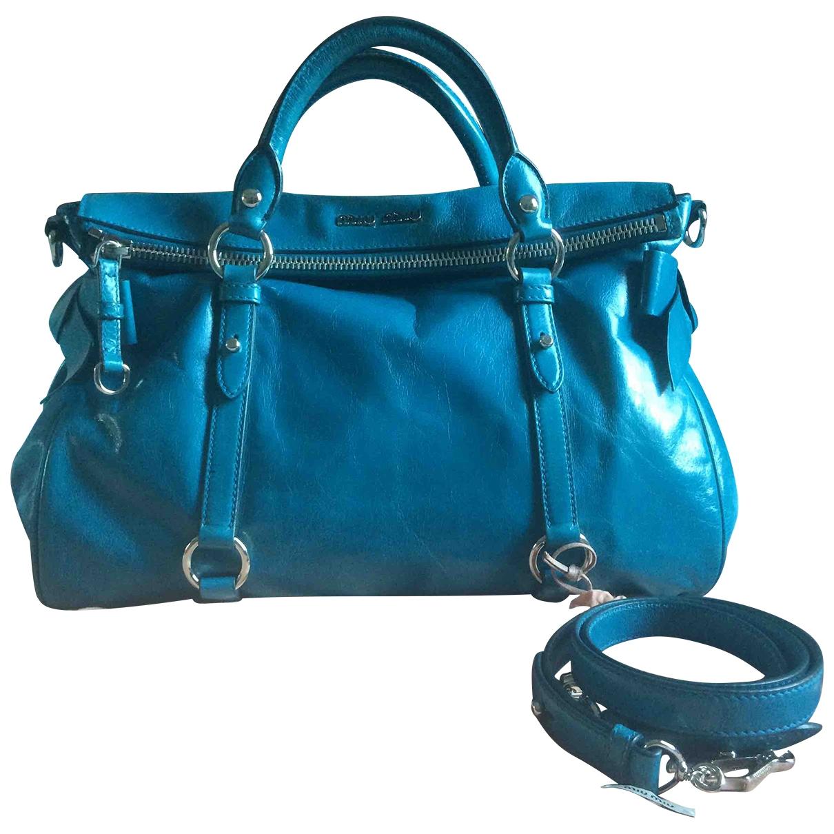 Miu Miu Bow bag Handtasche in  Tuerkis Leder