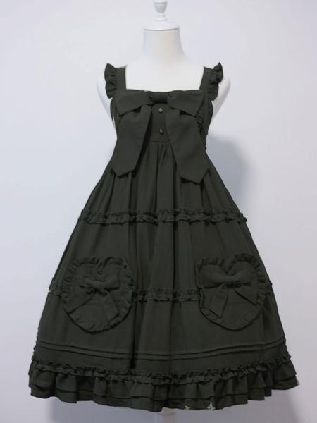 Milanoo Sweet Lolita JSK Dress Bows Sleeveless Ruffles Lolita Jumper Skirts
