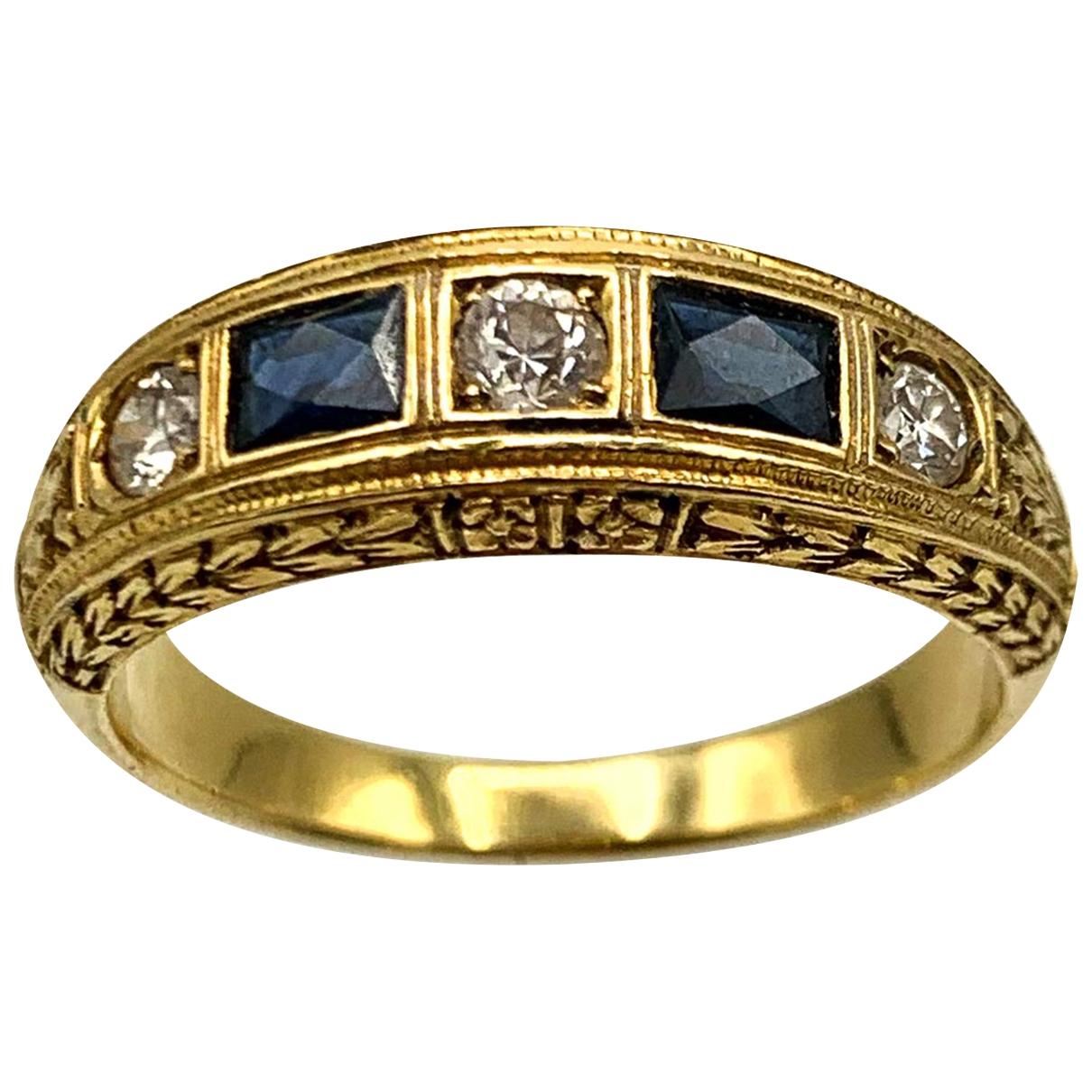 Non Signe / Unsigned Art Deco Ring in  Blau Gelbgold