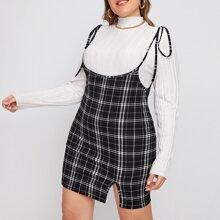 Kleid mit Knoten auf Schulter, Schlitz und Karo Muster