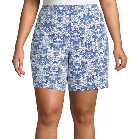 St. John's Bay Womens Mid Rise Chino Short-Plus, 24w , White
