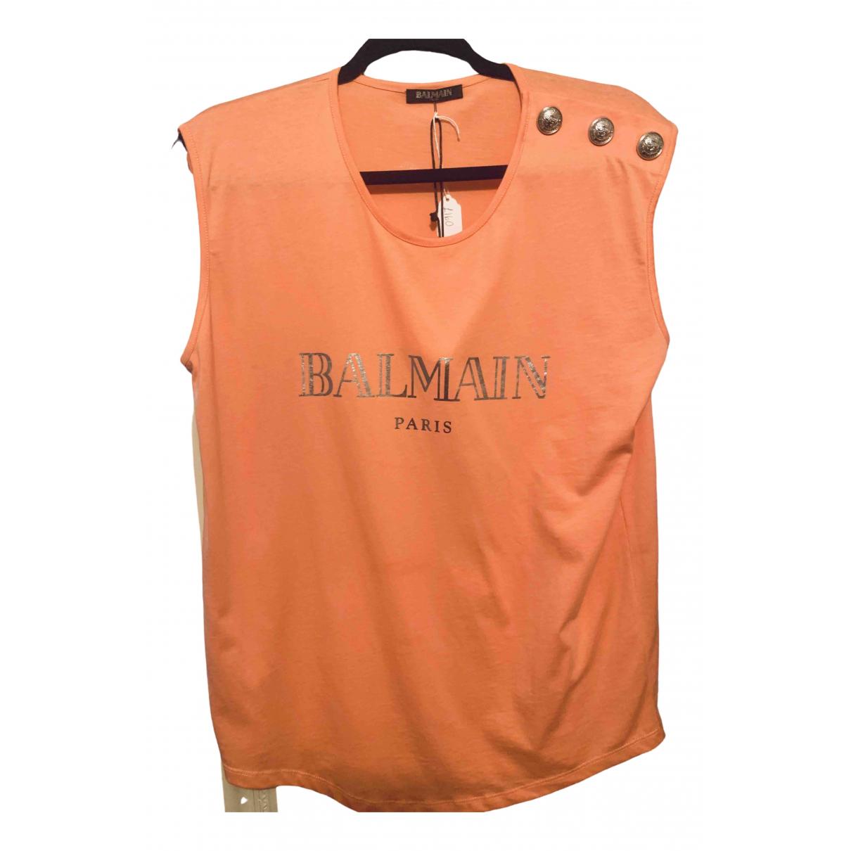 Balmain \N Orange Cotton  top for Women L International