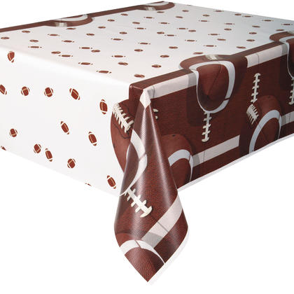 Football Party Rectangular Plastic Table Cover, 54x84