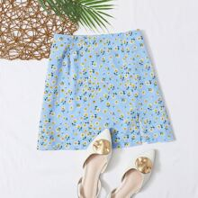 Ditsy Floral Slit Mini Skirt