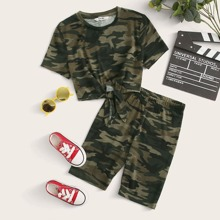 Girls Knotted Front Camo Tee & Biker Shorts Set