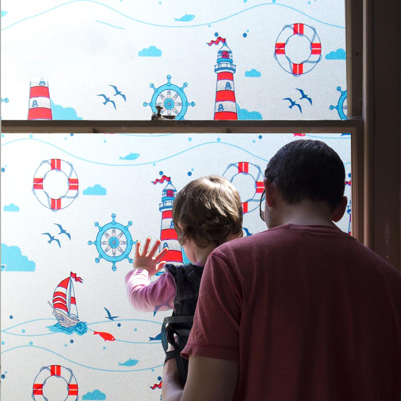 Sea Theme Blue Window Film Static Sticker No-glue for Kids