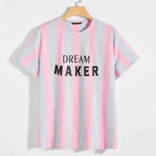 Zweifarbiges T-Shirt mit Buchstaben Grafik
