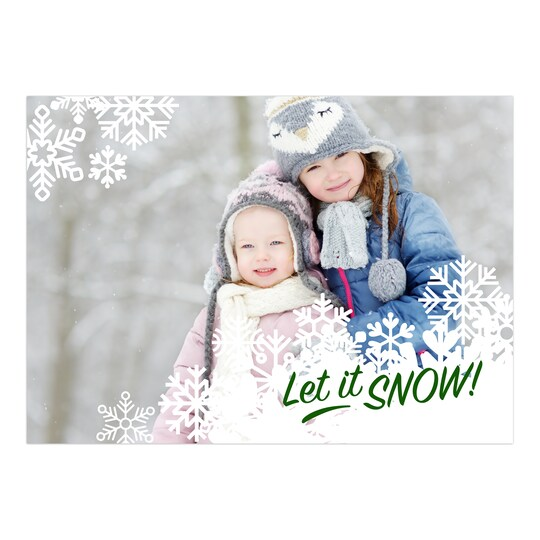 20 Pack of Gartner Studios® Personalized Nordic Flurries Flat Holiday Photo Card in Forest | 5