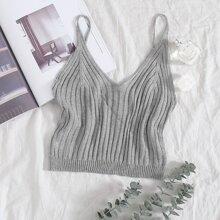 Solid Rib-knit Top
