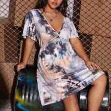 Kleid mit V Kragen und Batik