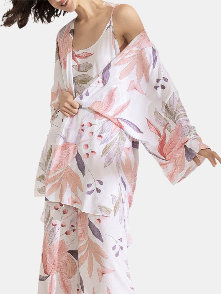 Women 3Pcs Floral Print Homewear Cotton Silk Loose Pajamas Sets With Robe