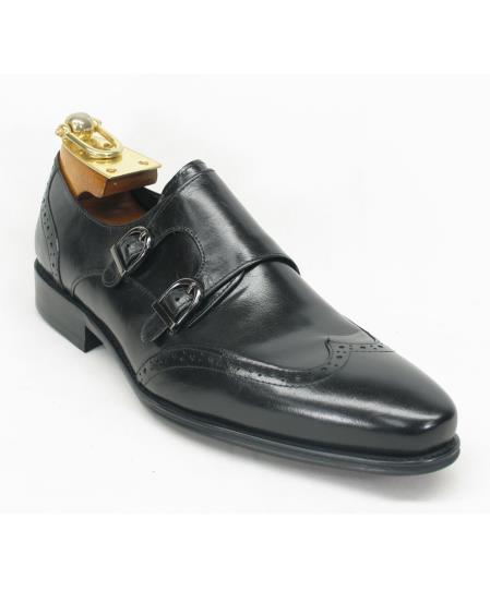 Men's Fashionable Wingtoe Black Double Buckle Style Shoes