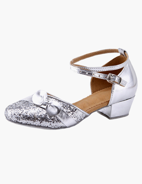Milanoo Ankle Strap Glitter Latin Dance Shoes