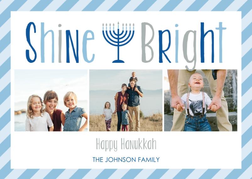 Hanukkah Photo Cards Mail-for-Me Premium 5x7 Folded Card , Card & Stationery -Hanukkah Shine Bright Menorah