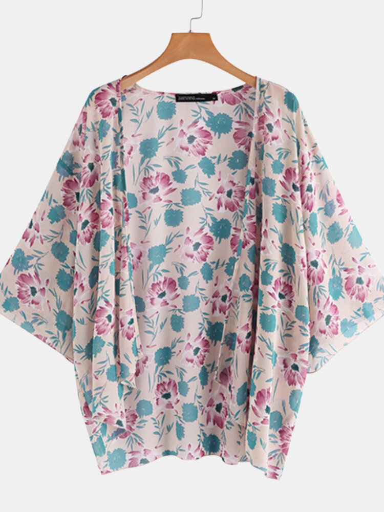 Floral Print Casual Plus Size Kimono for Women