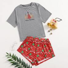 Christmas & Slogan Graphic PJ Set