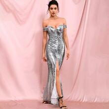 schulterfreies Prom Kleid mit Schlitz und Pailletten