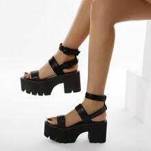 Open Toe Ankle Strap Platform Chunky Heeled Sandals