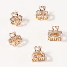 5 piezas garra de pelo metalica grabada con diamante de imitacion