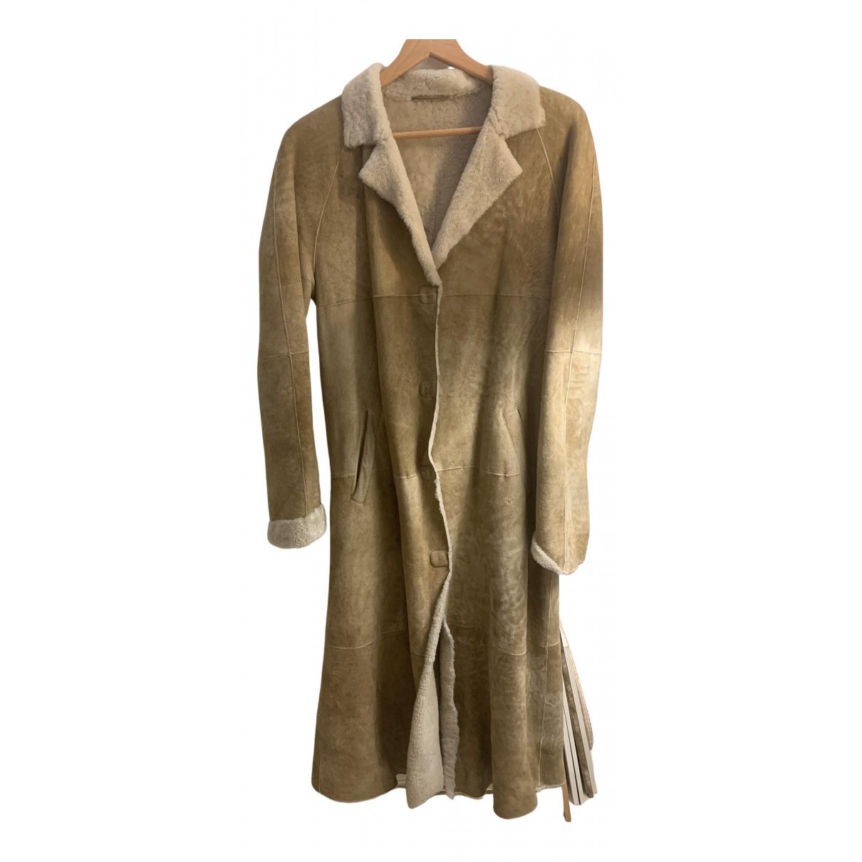 Massimo Dutti - Manteau   pour femme en mouton - beige