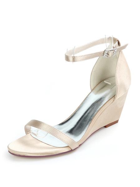 Milanoo Ivory Wedding Shoes Satin Open Toe Buckle Wedge Heel Bridal Shoes