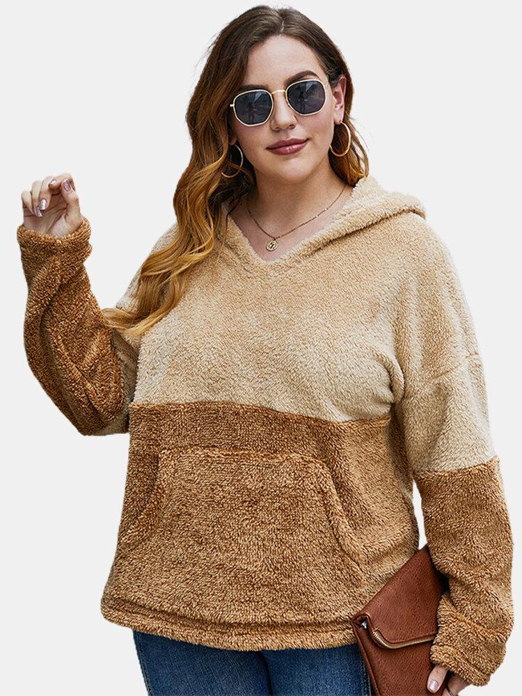 Fleece Patchwork Double Side Pocket Plus Size Hoodie