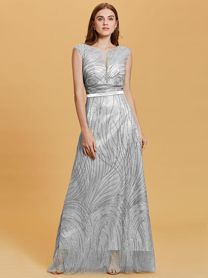 Ericdress Scoop Neck Backless Gilding A Line Evening Dress