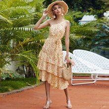 One Shoulder Layered Hem Belted Floral Dress