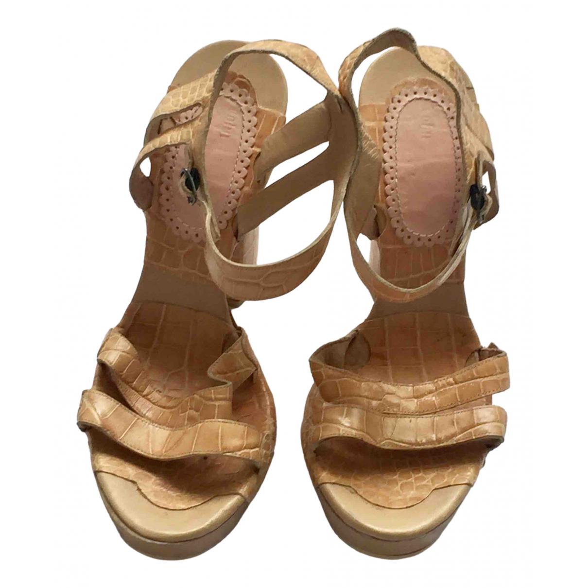 John Galliano N Beige Leather Sandals for Women 40 EU