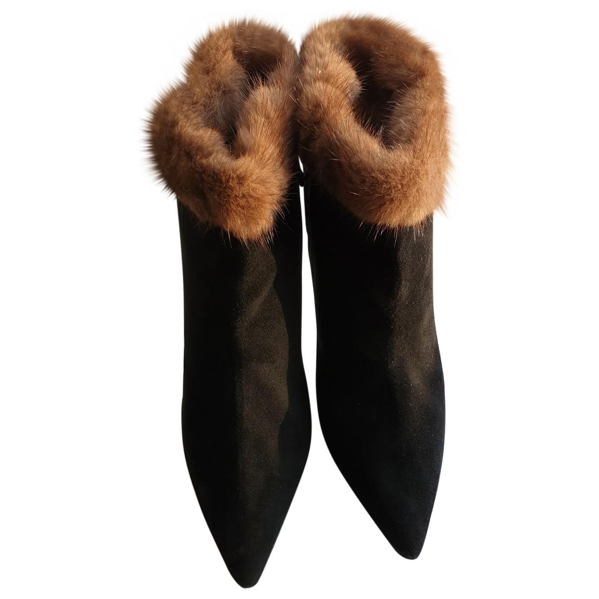 Oscar De La Renta - Boots   pour femme en suede - noir