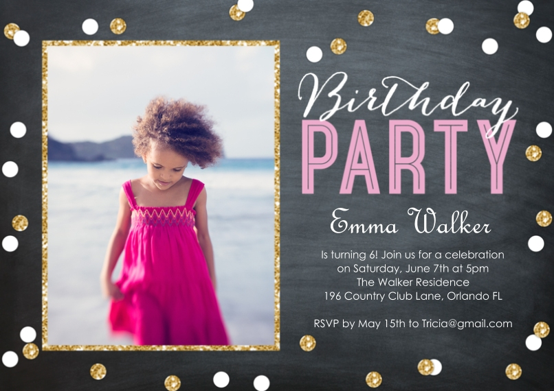 Birthday Party Invites 5x7 Cards, Standard Cardstock 85lb, Card & Stationery -Birthday Party Confetti