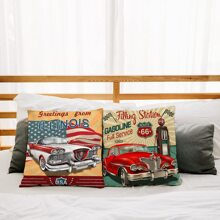 1pc Car Print Cushion Cover Without Filler