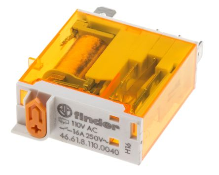 Finder , 110V ac Coil Non-Latching Relay SPDT, 25A Switching Current Plug In Single Pole