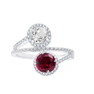 Sterling Silver with Ruby and Natural White Topaz Bypass Halo Ring (10)