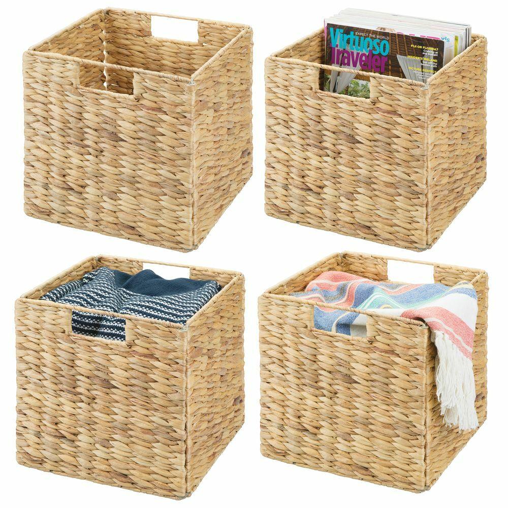 Natural Woven Storage Cube Basket Bin - Hyacinth 10.5