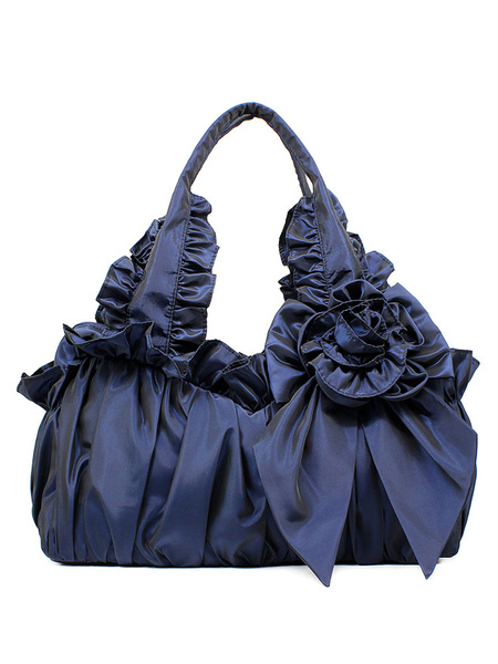 Milanoo Classic Lolita Bag Bow Ruffle 3D Flower Victorian Style Lolita Handbag
