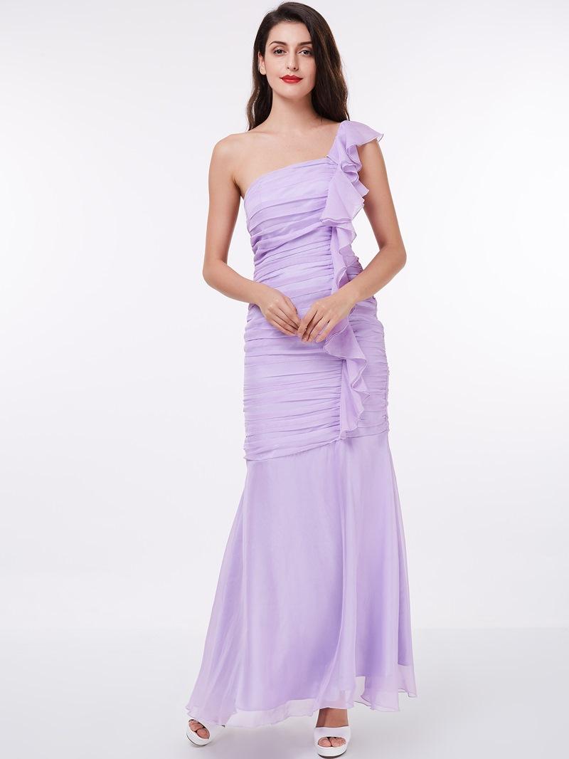 Ericdress Sheath One Shoulder Ruffles Evening Dress