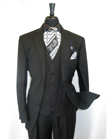 Mens Black Shadow Stripe Style 2Buttons Single Notch Lapel Vested Suit