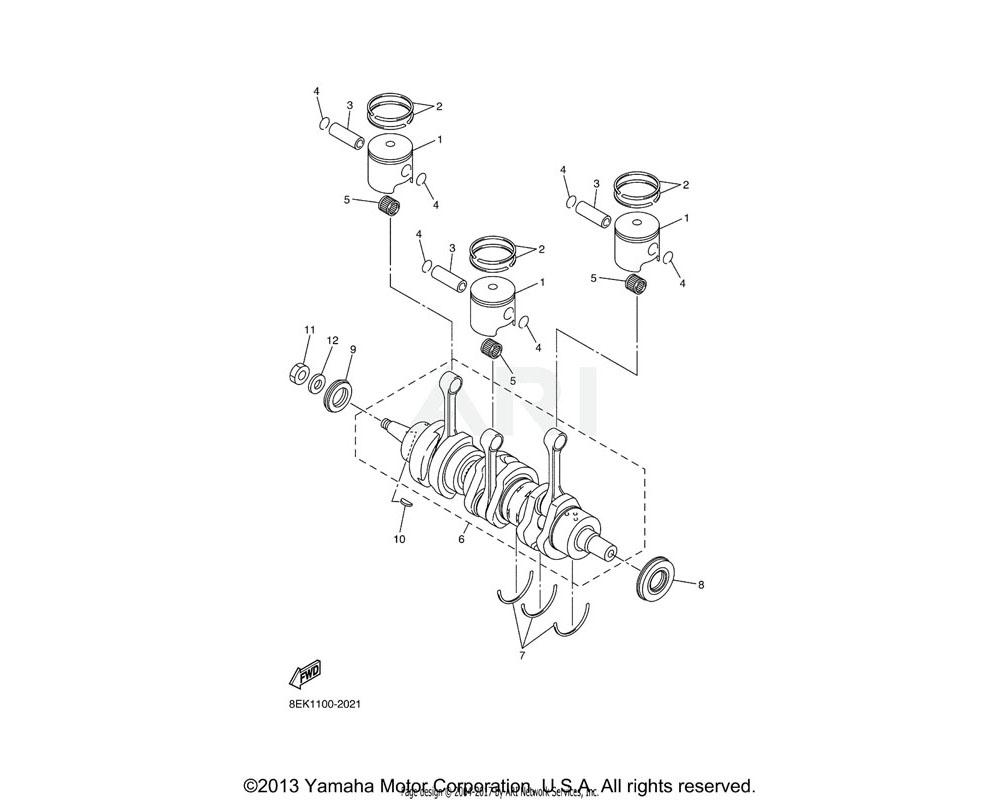 Yamaha OEM 8EK-11631-00-A0 PISTON (STD)