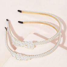Aro de pelo de niñas con diseño de perla artificial 2 piezas