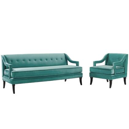 Concur Collection EEI-4024-TEA-SET Sofa and Armchair Set with Dense Foam Seat Cushion  Sloping Armrests  Birch Wood Saber Legs and Stain-Resistant