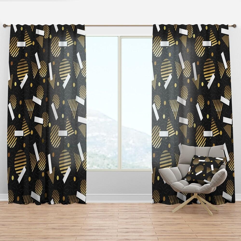 Designart 'Gold Retro Circular Pattern' Mid-Century Modern Curtain Panel (50 in. wide x 63 in. high - 1 Panel)