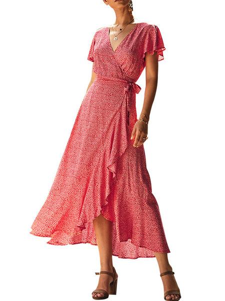 Milanoo Maxi vestidos de manga corta de la impresion floral del cuello en V Vestido cruzado Volantes