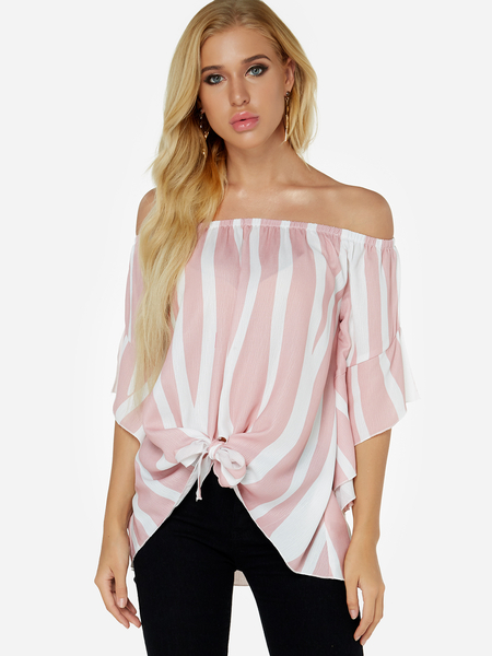 Yoins Pink Lace-up Design Stripe Off The Shoulder Flared Sleeves Top