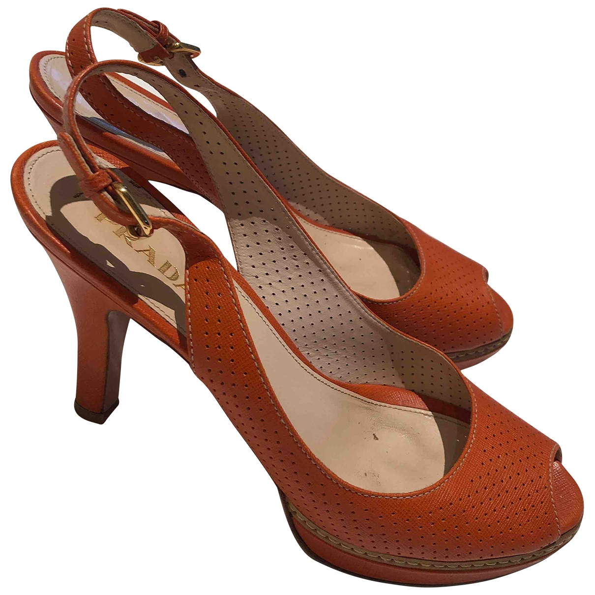 Prada \N Sandalen in  Orange Leder