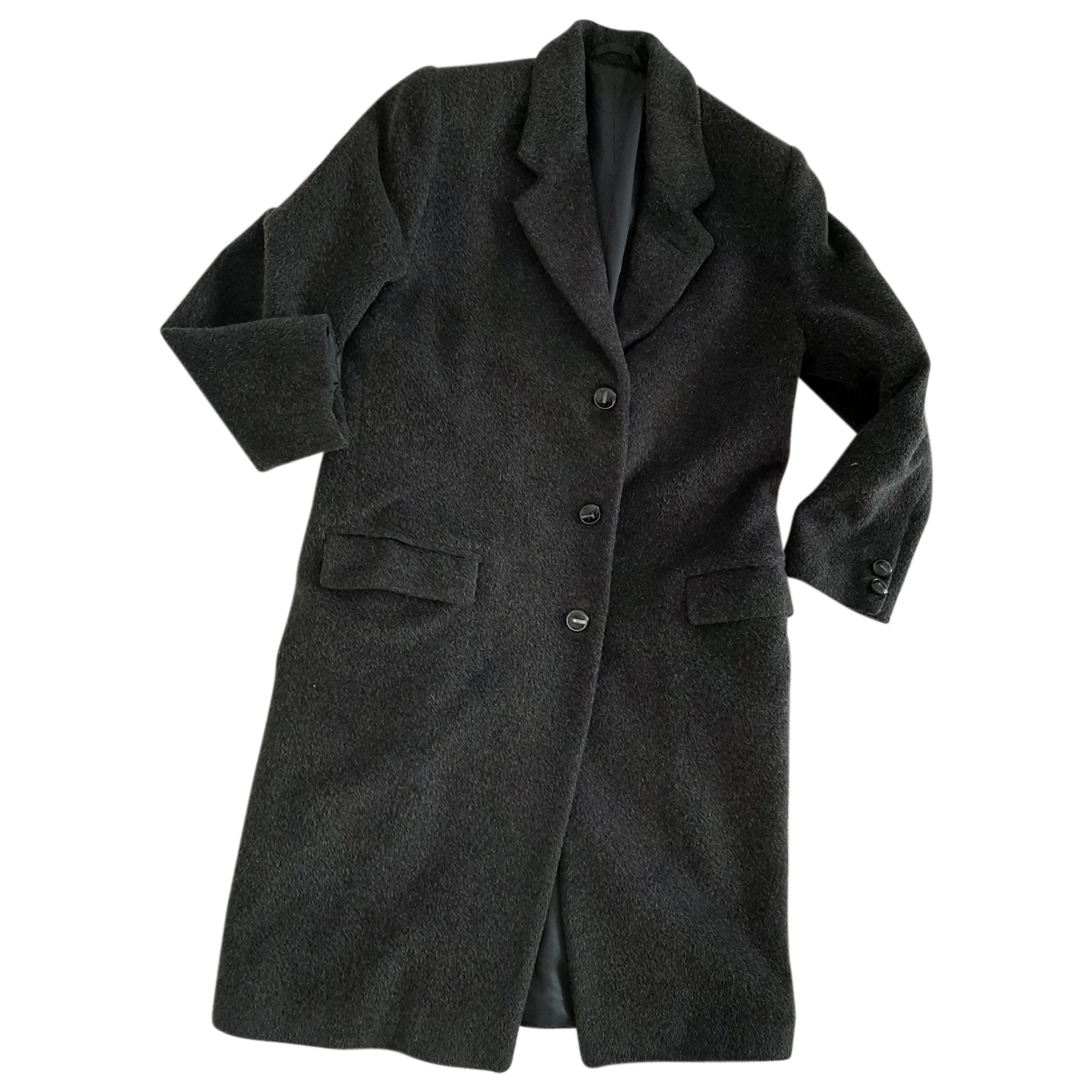 Non Signé / Unsigned Oversize Anthracite Wool coat for Women 46 IT