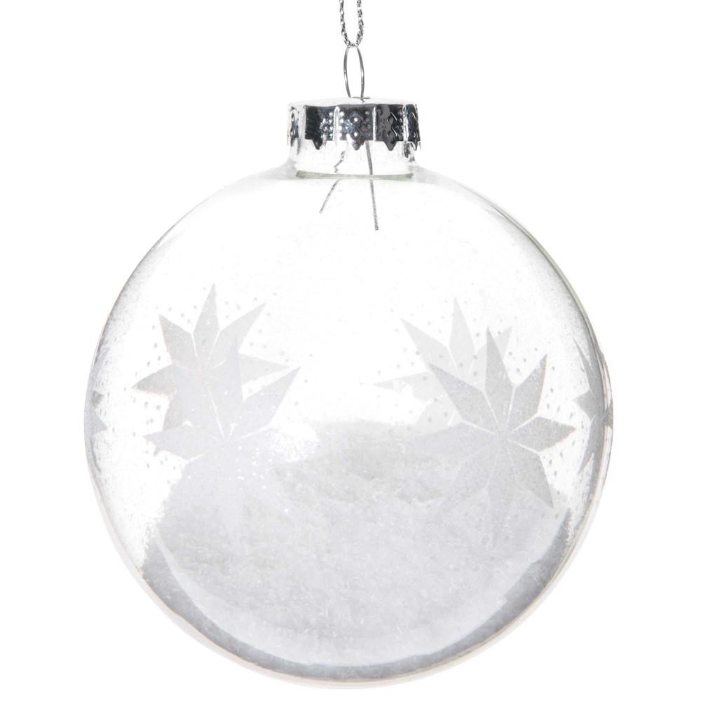 Weihnachtskugel aus Glas mit Schneeflocken-Motiven