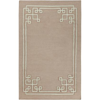 AMD1020-58 5' x 8' Rectangular Alameda Reversible 100% Wool Rug with No Pile and Hand Woven in India in Taupe  Light Grey  and