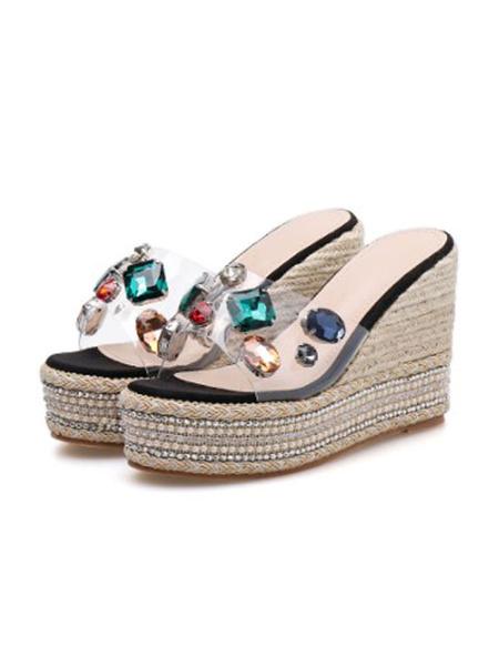 Milanoo Espadrilles Clear Platform Heels Sandals Perspex Wedge Heels Open Toe Embellished Beach Slippers Summer Shoes